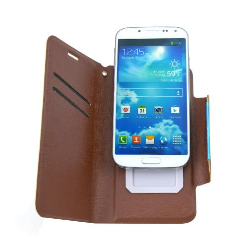 Brown Wallet Case With Premium [pu/faux Leather] And Magnetic Flap Closure Wallet Case Cover For Samsung Galaxy S4 Sized Phones