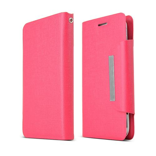 Hot Pink Universal Wallet Case; Best Design With Coolest Premium [pu/faux Leather] Magnetic Flap Closure For Samsung Galaxy S4 Sized Phones
