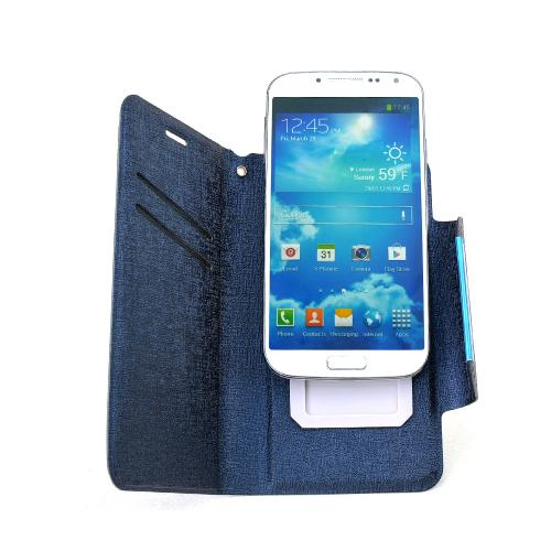 Navy Wallet Case With Coolest Premium [pu/faux Leather] With Magnetic Flap Closure Wallet Case Cover For Samsung Galaxy S4 Sized Phones
