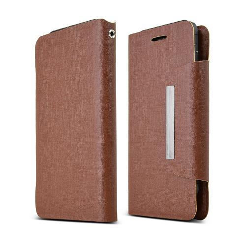 Brown Wallet Case; [pu/faux Leather]  Magnetic Flap Closure; Fashion Slim Universal Wallet Case Cover
