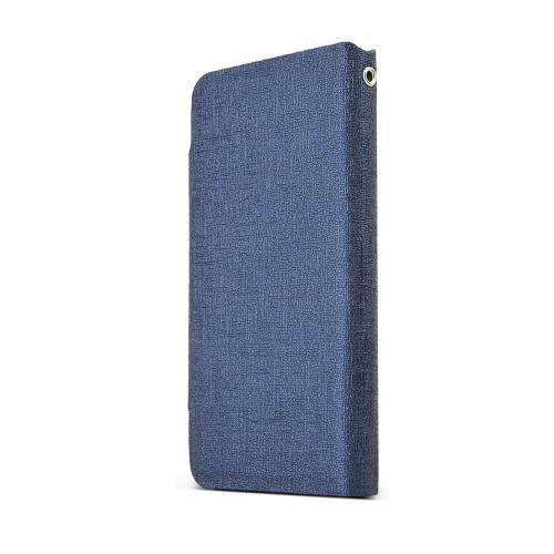 Apple iPhone SE / 5 / 5S Wallet Case,  [Navy]  Kickstand Feature Luxury Faux Saffiano Leather Front Flip Cover with Built-in Card Slots, Magnetic Flap