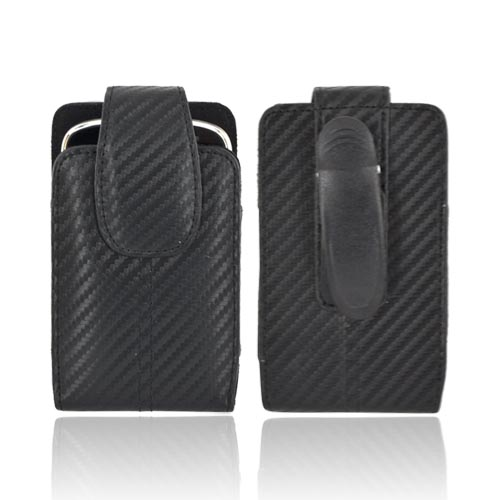 Universal Vertical Carbon Fiber Pouch w/ Rotating Belt Clip & Magnetic Closure (PUTL)