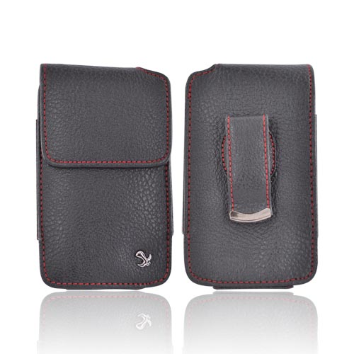 Universal HTC HD2/Google Nexus 1 Vertical Executive Leather Pouch Case w/ Belt Clip - Black/Red (PUTXL)