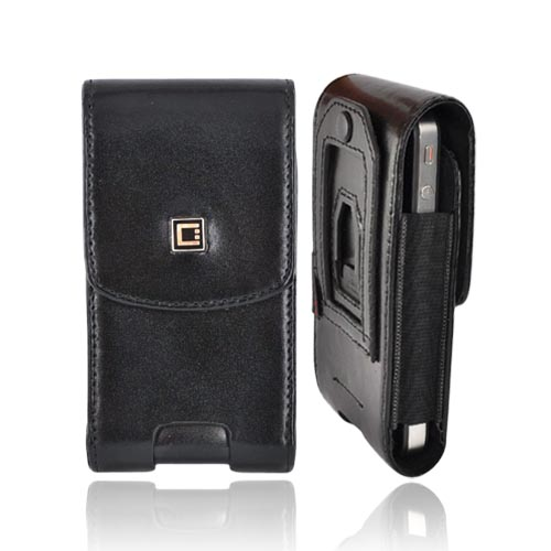 Premium Apple iPhone Vertical Leather Pouch w/ Removable Belt Clips - Black