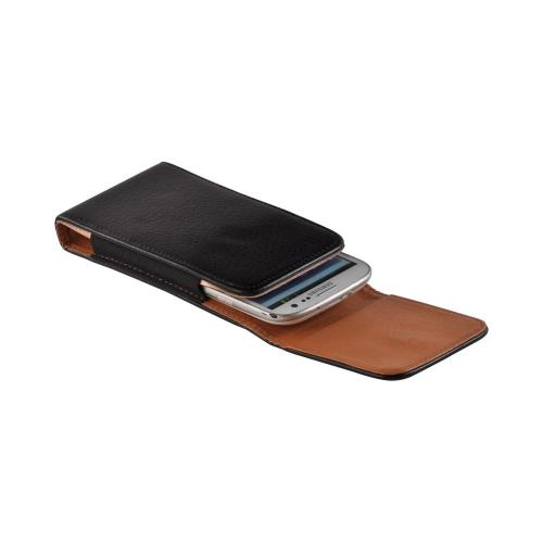 Black Vertical Leather Pouch w/ Magnetic Closure & Belt Clip for Galaxy S3 Sized Phones (PUT2XL)