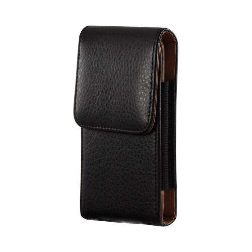 Black Universal Vertical Leather Pouch w/ Magnetic Closure & Belt Clip for Galaxy S3 Sized Phones (PUT2XL)