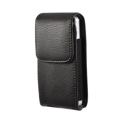 Black Vertical Leather Pouch w/ Magnetic Closure & Belt Clip for iPhone 4 Sized Phones (PUT)