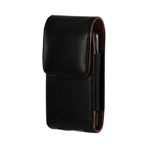 Black Universal Vertical Pouch w/ Magnetic Closure & Belt Clip Designed for HTC EVO 4g Sized Phones w/ Case (PUTXL)