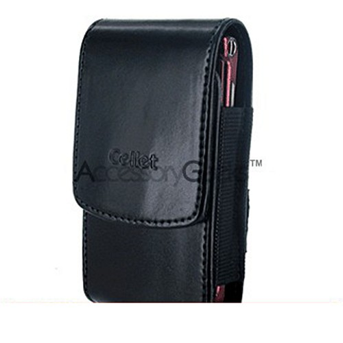 Motorola Razr V3 / Samsung A900 Vertical Leather Pouch Case - Black