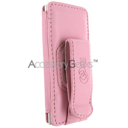 Premium Apple iPod Nano Chromatic Forza Vertical Leather Pouch w/ Belt Clip - Baby Pink