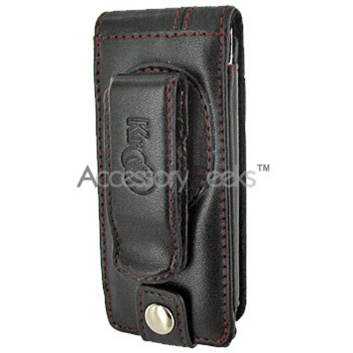 Premium Apple iPod Nano Chromatic Manhattan Vertical Leather Pouch w/ Swivel Belt Clip - Red Trim on Black