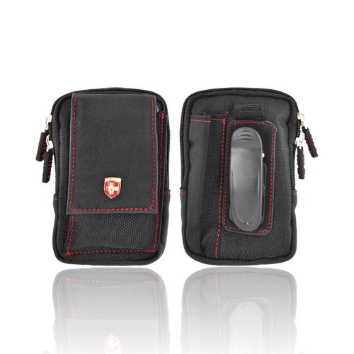 Original Swiss Leatherware Universal Vertical Nylon Pouch w/ Zipper Closure, Rotating Belt Clip, Extra Pocket w/ Velcro Closure - Black/ Red (PUTS)