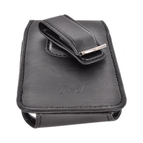 Premium Vertical Leather Pouch w/ Magnetic Closure & Rotating Belt Clip (PDAUT) - Black