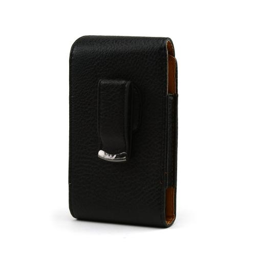 Universal Vertical Leather Pouch w/ Magnetic Closure & Swivel Belt Clip for Samsung Galaxy S3, HTC One, & Motorola DROID RAZR HD Sized Phones - Black (PUT2XL)