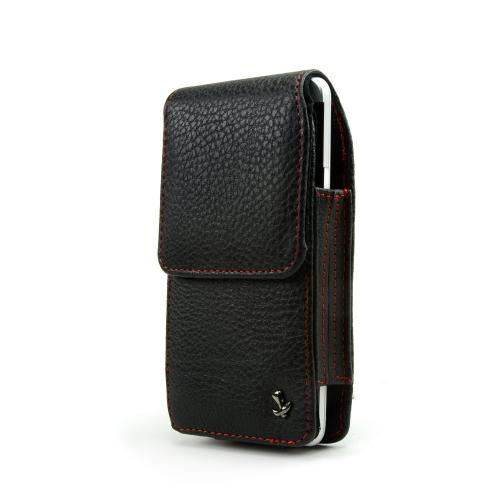 Universal Vertical Leather Pouch w/ Swivel Belt Clip for Samsung Galaxy S3, HTC One, & Motorola DROID RAZR HD Sized Phones - Black w/ Red Stitching (PUT2XL)