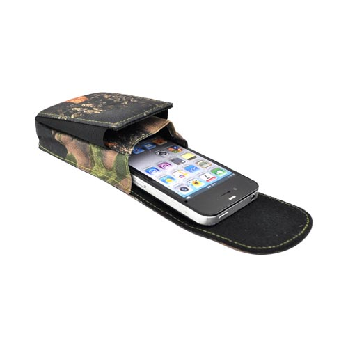 Original Chevrolet Vertical Cell Phone Nylon Pouch Case w/ Clips and Extra Pocket- Camo Chevrolet (PUT)