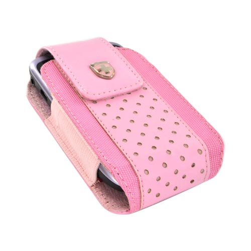 Original Swiss Leatherware Universal Vertical Leather & Nylon Pouch w/ Rotating Belt Clip & Magnetic Closure - Baby Pink (PUTS)