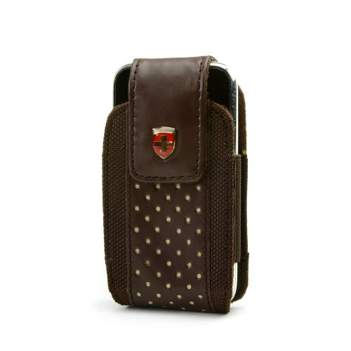 Original Swiss Leatherware Universal Vertical Leather & Nylon Pouch w/ Rotating Belt Clip & Magnetic Closure - Brown w/ Red Polka Dots (PUTS)