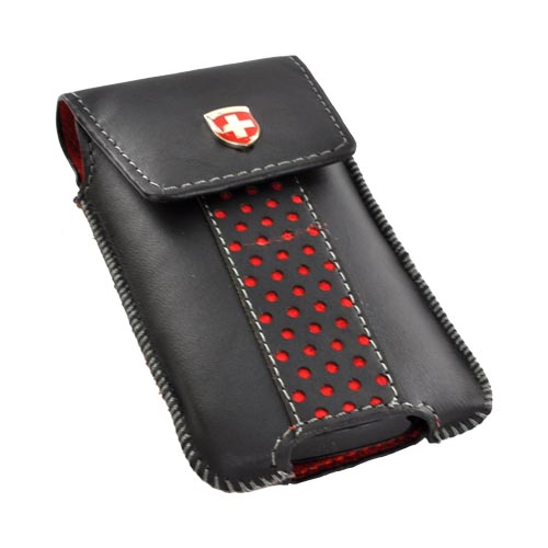 Original Swiss Leatherware Universal Vertical Leather Pouch w/ Rotating Belt Clip & Magnetic Closure - Black w/ Red Polka Dots (PUTS)