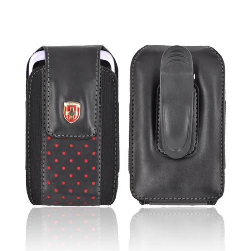 Original Swiss Leatherware Vertical Leather & Nylon Pouch w/ Rotating Belt Clip & Magnetic Closure - Black w/ Red Polka Dots (PUTS)