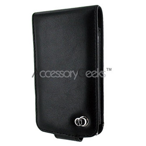 Apple iPod Touch 2 & 3nd Generation Melrose Vertical Leather Flip Open Type Pouch w/ Swivel Belt Clip - Black