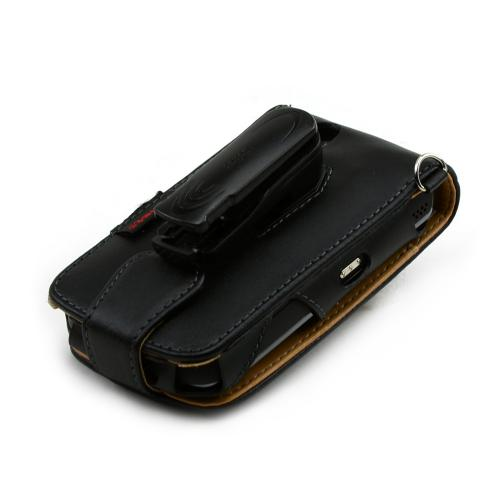 Premium Executive Blackberry Tour 9630 Vertical Leather Book-Type Pouch w/ Detachable Belt Clip - Black