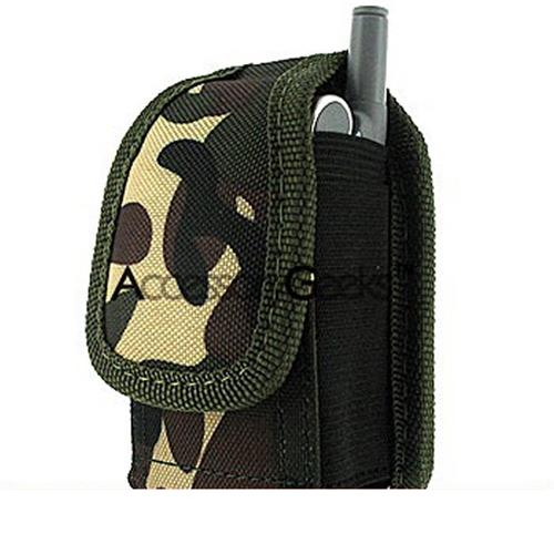Green Camouflaged Army Pouch w/ Stainless Steel Belt Clip - (FS)