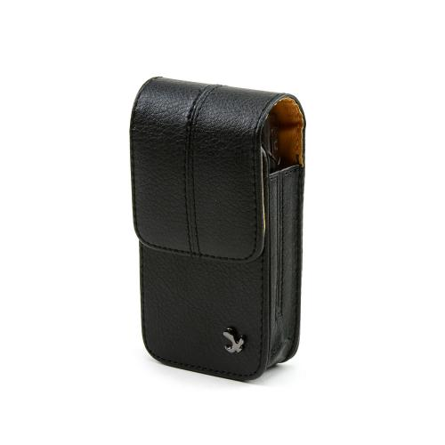 Black Palm Centro Size Vertical Executive Leather Pouch w/ Magnetic Closure & Belt Clip