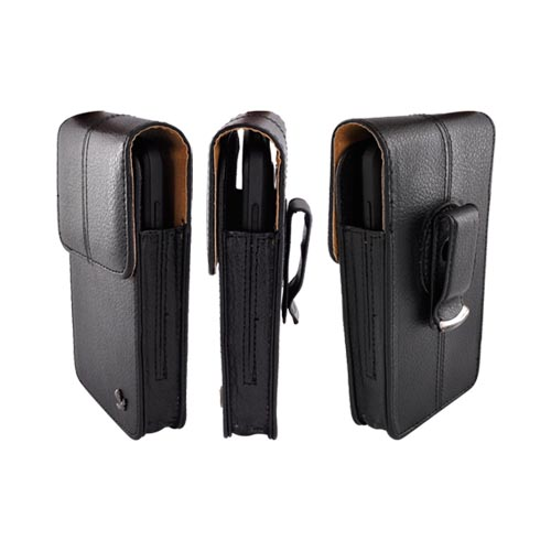 Vertical Executive Leather Pouch w/ Magnetic Closure & Belt Clip - Black (PUTXL Size)