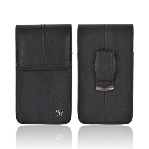 Universal Vertical Executive Leather Pouch w/ Magnetic Closure & Belt Clip - Black (PUTXL Size)