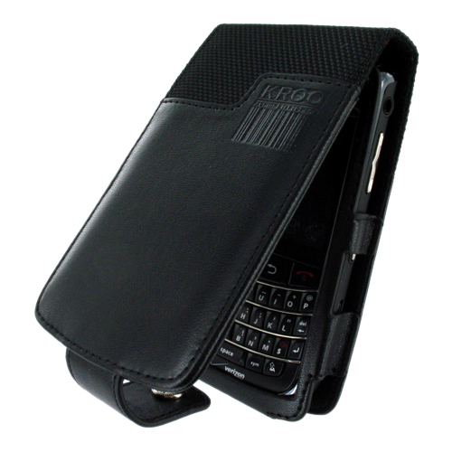 Blackberry Storm 9530 Vertical Melrose Leather Pouch w/ Card Slot & Swivel Clip - Black
