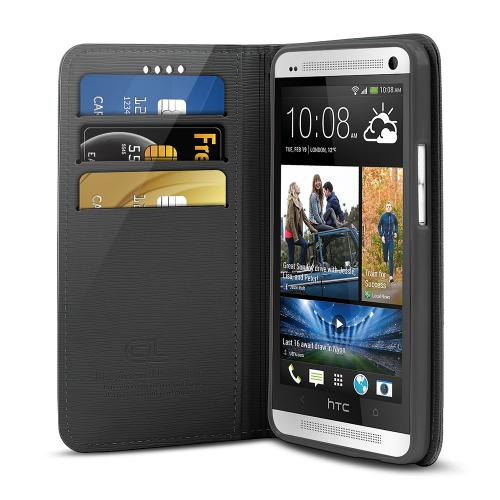 Black Faux Leather Diary Flip Stand Case w/ ID Slots & Bill Fold for HTC One