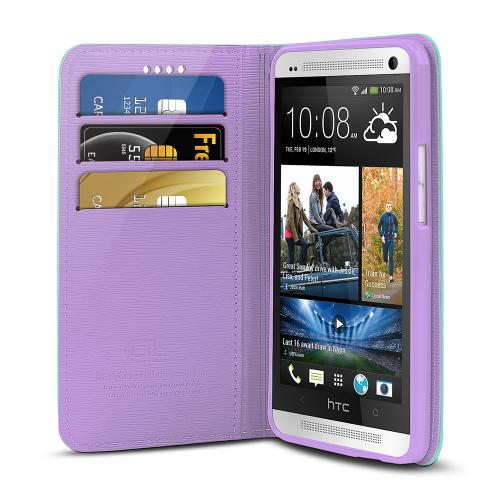 Mint/ Lavender Faux Leather Diary Flip Stand Case w/ ID Slots & Bill Fold for HTC One