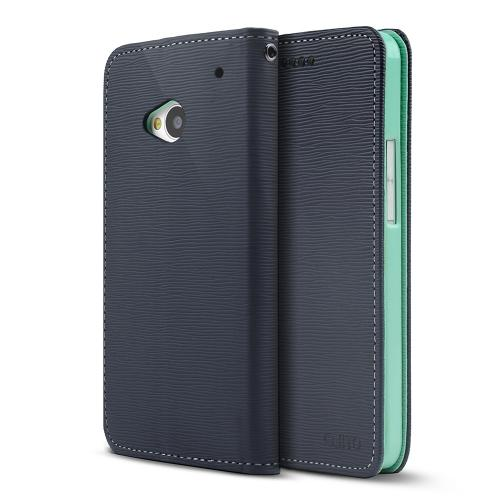 Navy/ Mint Faux Leather Diary Flip Stand Case w/ ID Slots & Bill Fold for HTC One