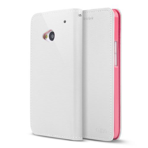 White/ Hot Pink Faux Leather Diary Flip Stand Case w/ ID Slots & Bill Fold for HTC One