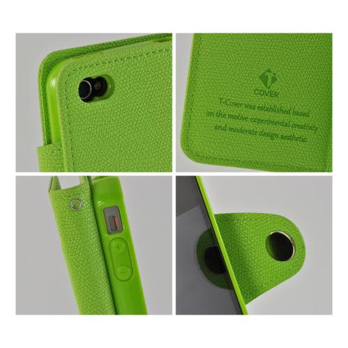 Lime Green Herb Diary Flip Cover Crystal Silicone Case w/ ID Slot for Apple iPhone 4/4S