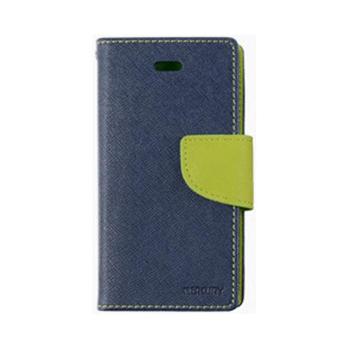 Lime Green/ Navy Blue Mercury Diary Flip Cover Crystal Silicone Case w/ ID Slots for Apple iPhone 4/4S