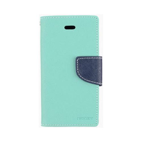 Seafoam Green/ Navy Blue Mercury Diary Flip Cover Crystal Silicone Case w/ ID Slots for Apple iPhone 4/4S