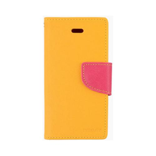 Yellow/ Hot Pink Mercury Diary Flip Cover Crystal Silicone Case w/ ID Slots for Apple iPhone 4/4S