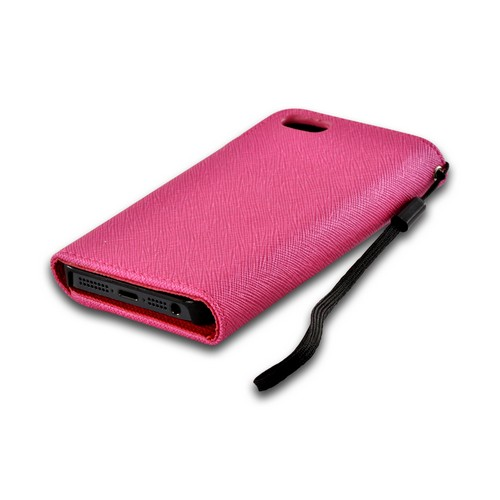 Pink/ Red Faux Leather Diary Case w/ Wrist Strap & ID Slots for Apple iPhone 5/5S