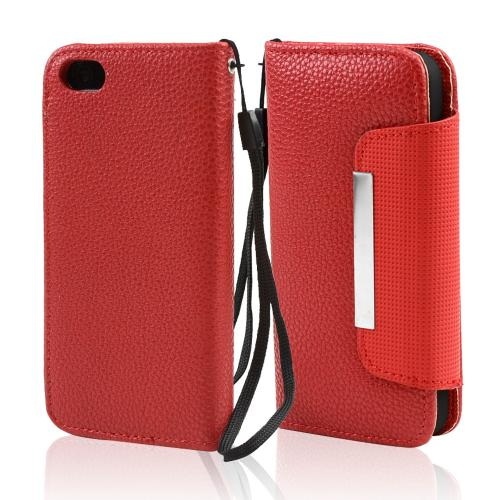 Apple iPhone SE / 5 / 5S Wallet Case,  [Red]  Kickstand Feature Luxury Faux Saffiano Leather Front Flip Cover with Built-in Card Slots, Magnetic Flap