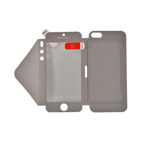 Gray Leather Wallet Case w/ Built-In Screen Protector & ID Slot for Apple iPhone 5