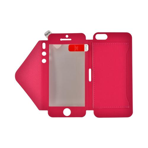 Hot Pink Leather Wallet Case w/ Built-In Screen Protector & ID Slot for Apple iPhone 5