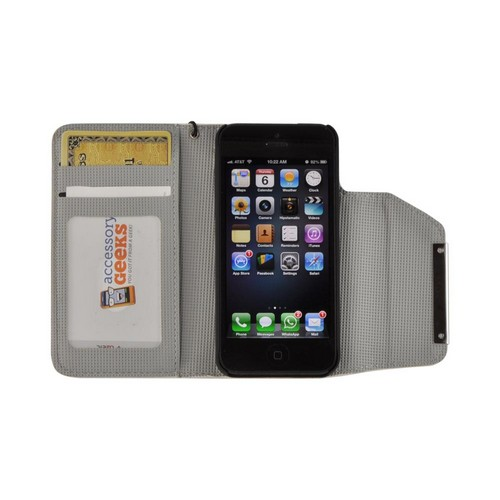 White/ Gray Faux Leather Diary Case w/ Wrist Strap & ID Slots for Apple iPhone 5/5S