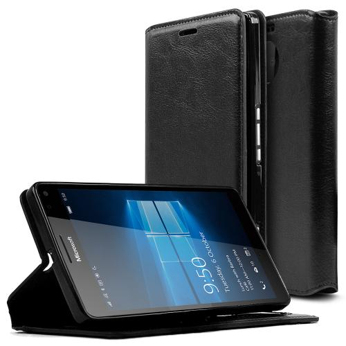 Microsoft Lumia 950 XL Case, [Black] Faux Leather Front Flip Cover Diary Wallet Case w/ ID Slots & Bill Fold