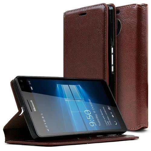 Microsoft Lumia 950 XL Case, [Brown] Faux Leather Front Flip Cover Diary Wallet Case w/ ID Slots & Bill Fold