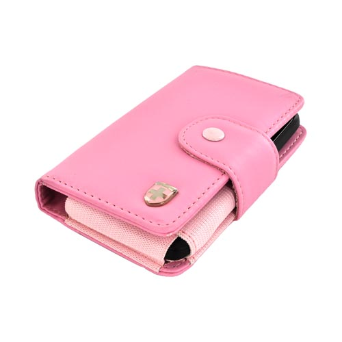Original Swiss Leatherware Universal Leather Protective Wallet Pouch w/ ID Slots - Baby Pink (PUTS)