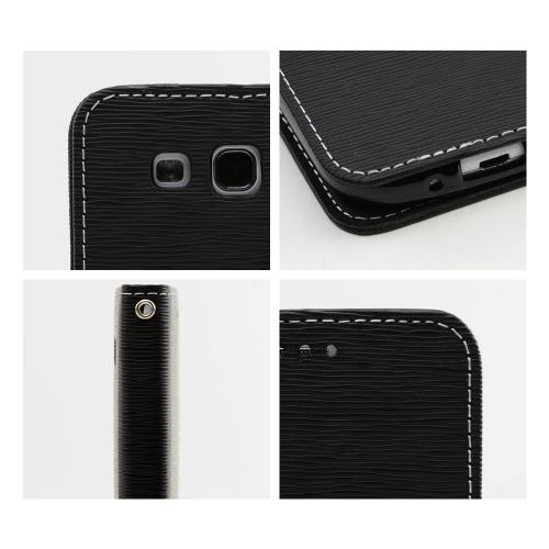 Black Faux Leather Diary Flip Stand Case w/ ID Slots & Bill Fold for Samsung Galaxy S3