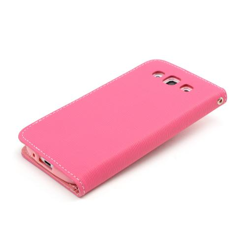 Hot Pink/ Baby Pink Faux Leather Diary Flip Stand Case w/ ID Slots & Bill Fold for Samsung Galaxy S3