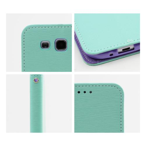 Mint/ Lavender Faux Leather Diary Flip Stand Case w/ ID Slots & Bill Fold for Samsung Galaxy S3